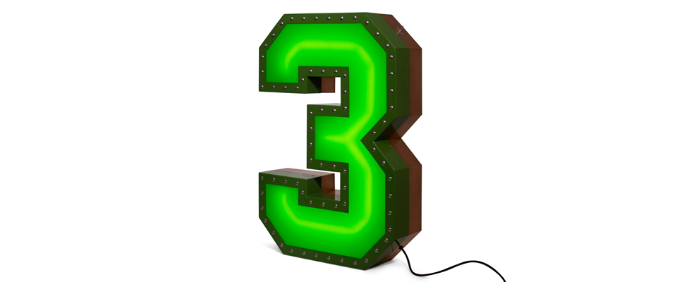 3 Number Graphic Lamp Delightfull Love Happens