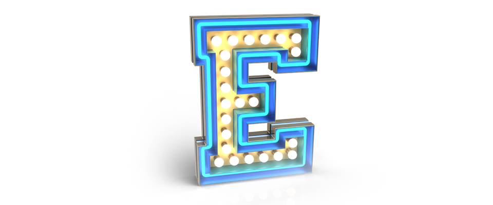 E | LETTER GRAPHIC LAMPS by DELIGHTFULL