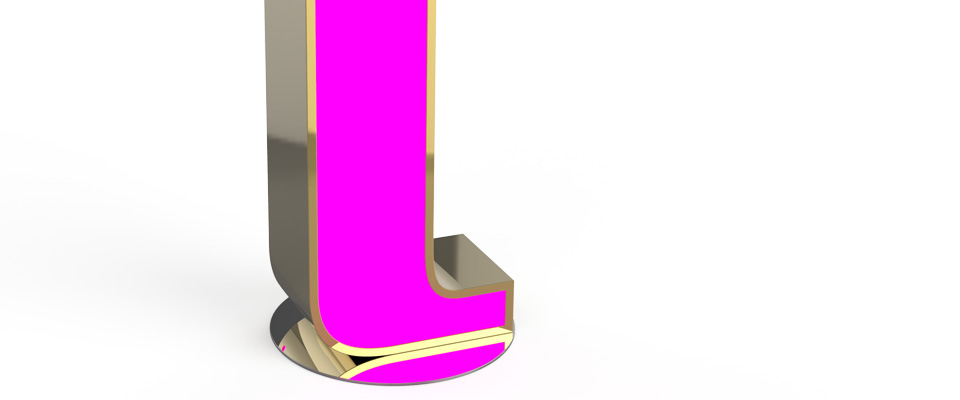 L Letter Graphic Lamp Delightfull Love Happens