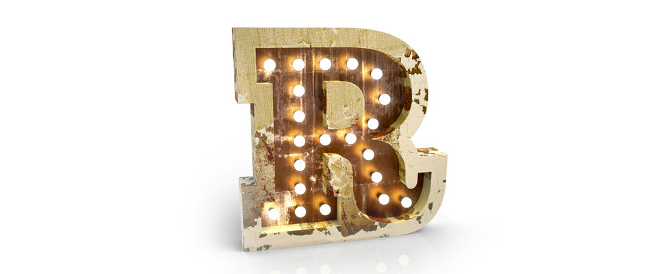 R Letter Graphic Lamp Delightfull Love Happens